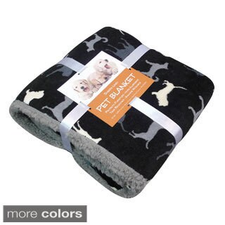 Dog Print Sherpa-backed Pet Blanket