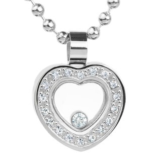 ELYA Stainless Steel Heart and Cubic Zirconia Pendant Necklace