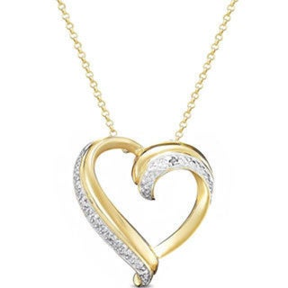 Finesque Gold over Sterling Silver Diamond Accent Heart Necklace. Opens flyout.