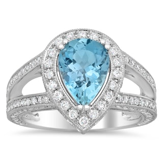 18k White Gold 1ct TDW Round-cut White Diamond and 1 1/2ct Pear-cut Aquamarine Ring (F-G, SI1-SI2)