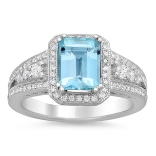 18k White Gold 3/4ct TDW Diamond and 13/5ct Aquamarine Ring (F-G, SI1-SI2)