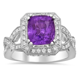 18k White Gold 3/4ct TDW Diamond and 3 1/2ct Purple Sapphire Ring (E-F, SI1-SI2)