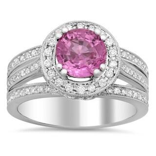 18k White Gold 3/5ct TDW White Diamond Round-cut and 1 4/5ct Pink Sapphire Ring (E-F, VS1-VS2)