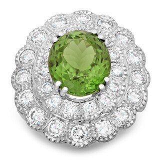 14k White Gold 4 4/5ct TDW Round-cut White Diamond and 8 1/4ct Oval-cut Tourmaline Flower Ring (E-F, SI1-SI2)