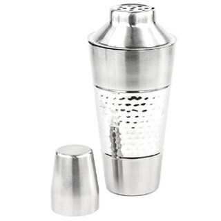 3-piece Hammered Stainless Steel Shaker with Strainer and Cap