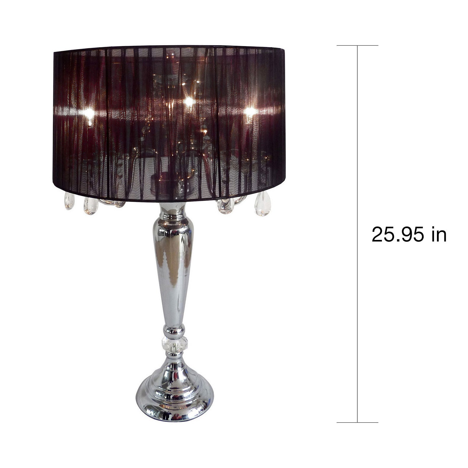 Shop Silver Orchid Bacall Hanging Crystals Sheer Shade Table Lamp   On Sale    Free Shipping Today   Overstock   20254061