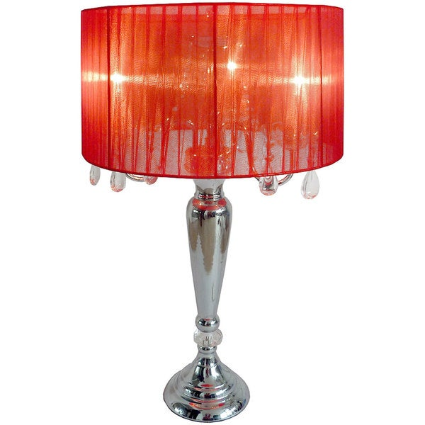 Exceptionnel Silver Orchid Bacall Hanging Crystals Sheer Shade Table Lamp