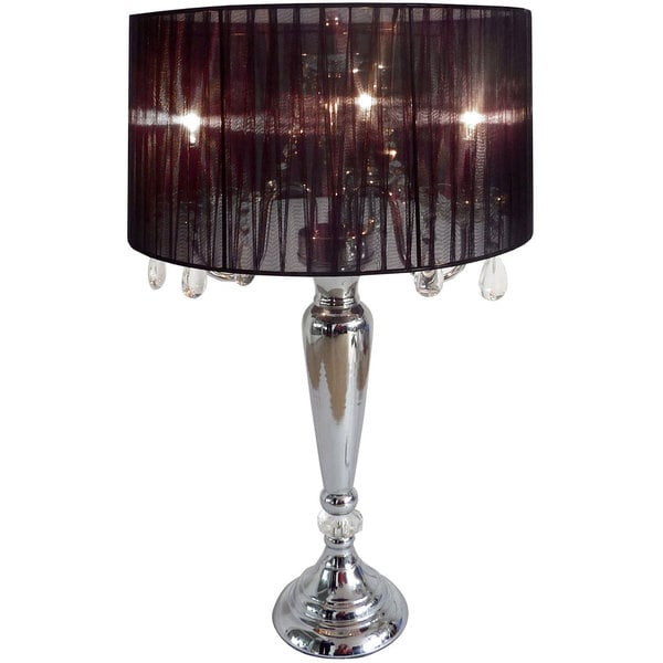 elegant designs hanging crystals sheer shade table lamp free. Black Bedroom Furniture Sets. Home Design Ideas