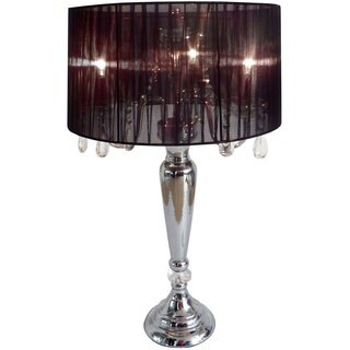 Silver Orchid Bacall Hanging Crystals Sheer Shade Table Lamp