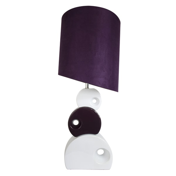 Elegant Designs Purple and White Stacked Circle Table Lamp with Asymmetrical Shade