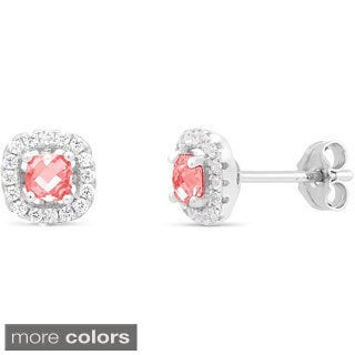 Sterling Silver Cubic Zirconia Halo Square Birthstone Stud Earrings