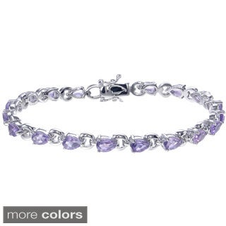 Sterling Silver 5 3/4ct TGW Gemstone Bracelet