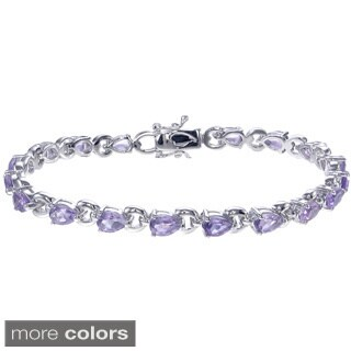 Sterling Silver 5 3/4ct TGW Gemstone Bracelet (2 options available)