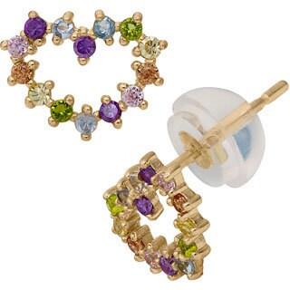 Gioelli 10k Yellow Gold Cubic Zirconia Heart Stud Earrings