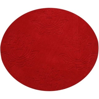 Alliyah Hand-loomed Fiesta Red New Zeeland Wool Rug (4' Round)