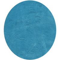 Alliyah Hand loomed River Blue New Zealand Wool Rug (4' Round) - 4'