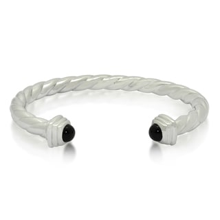 Gioelli Sterling Silver Black Onyx Twisted Cuff Bracelet