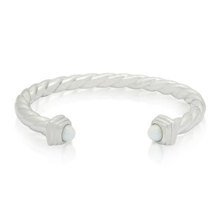 Gioelli Sterling Silver White Agate Cabachon Twisted Cuff Bracelet