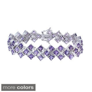 Rhodium-plated 21ct TGW Amethyst or Rhodolite Bracelet