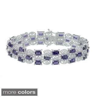 Rhodium-plated 26ct TGW Amethyst, Topaz or Rhodolite Bracelet