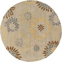 Hand-tufted Dazzle Floral Round Wool Area Rug - 6' x 6'
