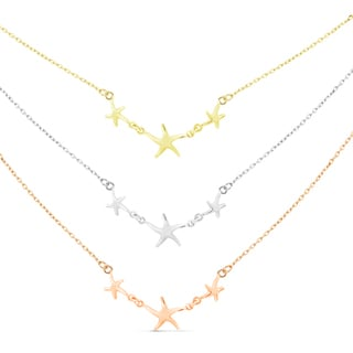 Sterling Silver Graduated 3-strand Tri-color Starfish Necklace