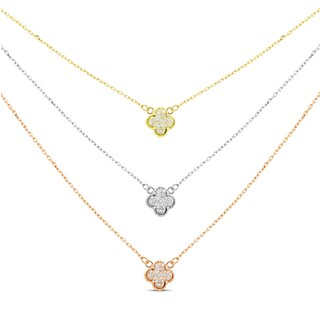 Tri-color Sterling Silver Cubic Zirconia Graduated 3-strand Clover Pendant Necklace