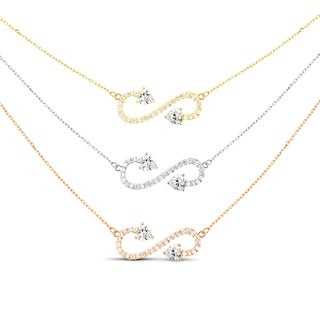 Tri-color Sterling Silver Cubic Zirconia Graduated 3-strand Pendant Necklace