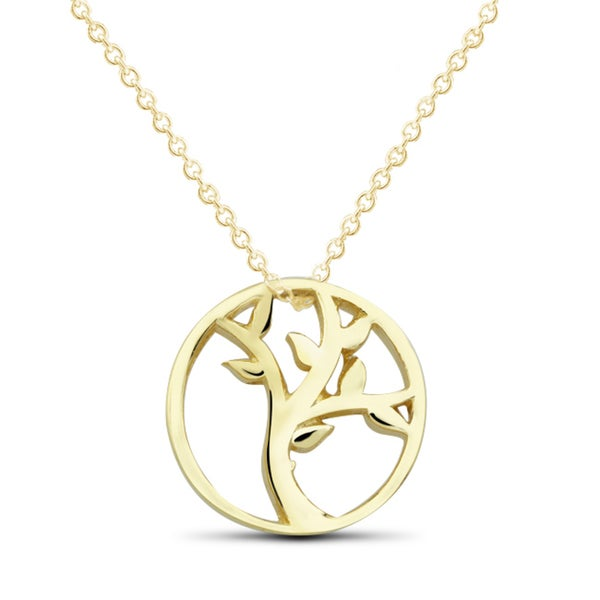 Goldplated Sterling Silver Tree of Life Pendant Necklace