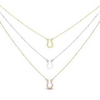 Tri-color Sterling Silver Cubic Zirconia 3-strand Horseshoe Necklace