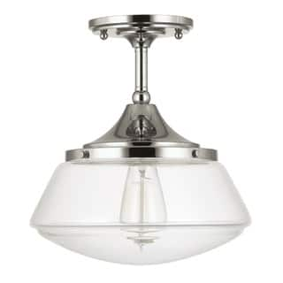 Capital Lighting Retro School House Collection 1 Light Polished Nickel Flushmount