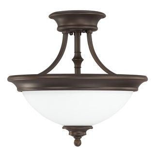 Capital Lighting Belmont Collection 2-light Burnished Bronze Semi Flush/ Pendant