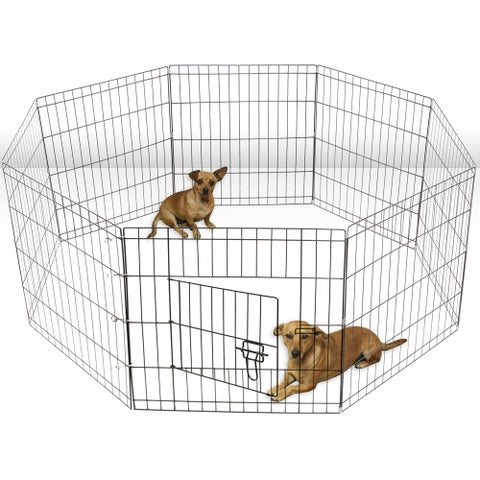 OxGord Silvertone Metal Wire 8-panel Portable Dog Exercise Playpen
