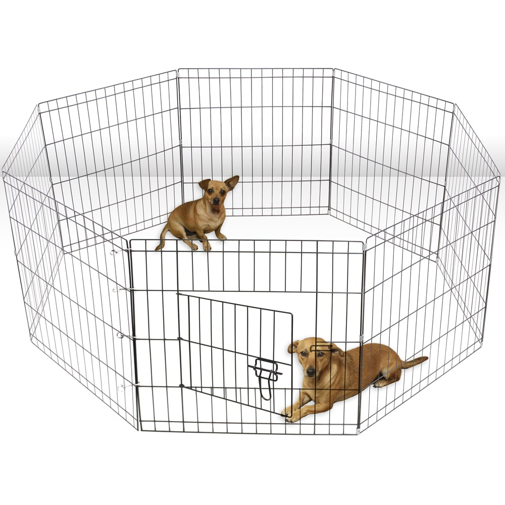 OxGord Metal 8-panel Portable Wire Exercise Dog Playpen (...