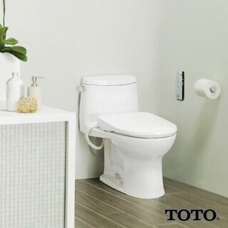 Toto Washlet S350e Round Bidet Toilet Seat with Auto Open and Close and ewater+ SW583#01 Cotton White