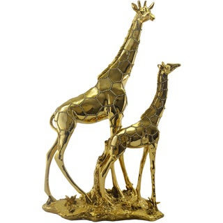 Gold Painted Decorative Giraffe and Calf with Crystals