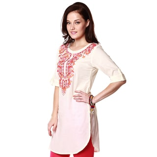 Global Desi Women's Boho Contrast Floral Embroidered Tunic (India)