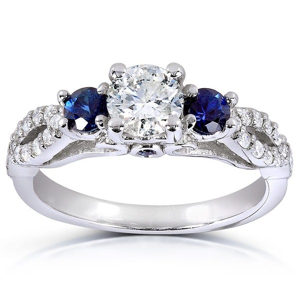 Diamond Rings For Sale Cheap: Annello By Kobelli 14k White Gold Round Blue Sapphire And
