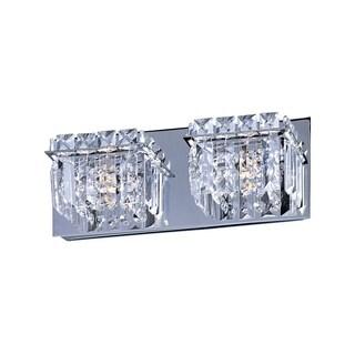 Bangle Crystal Cube and Polished Chrome 2-light Bath Vanity