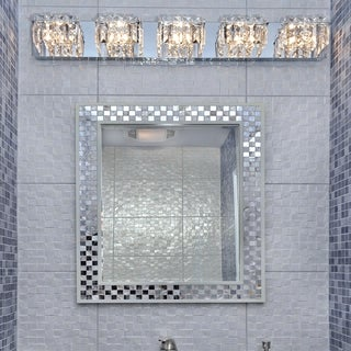 Bangle Crystal Cube and Polished Chrome 5-light Bath Vanity