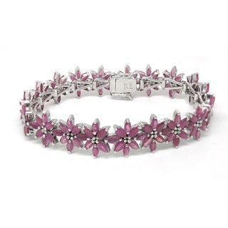 De Buman Sterling Silver Natural Ruby Bracelet