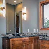 Cilandro II Satin Nickel and Matte White Glass 2-light Bath Vanity