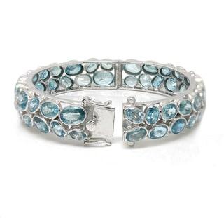 De Buman Sterling Silver Natural Blue Zircon Bangle Bracelet
