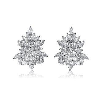 Collette Z Sterling Silver Cubic Zirconia Elegant Cluster Earrings