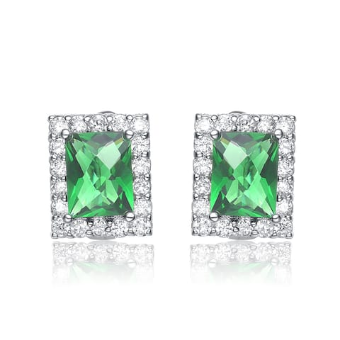 Collette Z Sterling Silver Green Cubic Zirconia Square Earrings