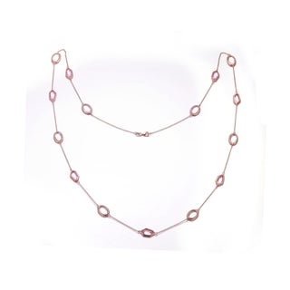 Collette Z Rose Goldplated Sterling Silver White and Pink Cubic Zirconia By the Yard Necklace