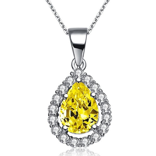 Collette Z Sterling Silver Medium Golden Yellow Cubic Zirconia Pear-shape Necklace