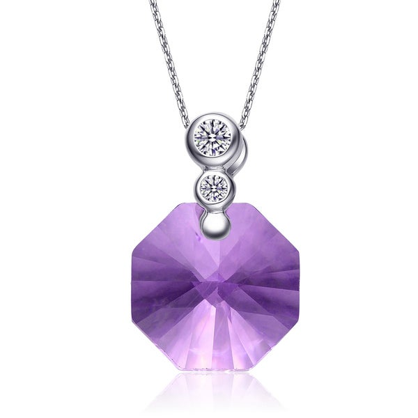 Collette Z Sterling Silver Purple and White Cubic Zirconia Octagon-shape Necklace
