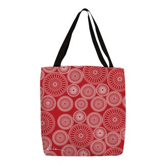 Wheels' White on Red Printed Tote