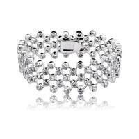 Collette Z Sterling Silver Cubic Zirconia Elegant Wide Cuff Bracelet